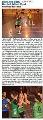 Dauphiné Libéré du 11-09-2018- Handball de Loriol en coupe de France