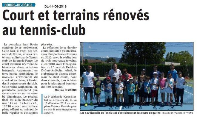 Dauphiné Libéré du 14-06-2019- Tennis de Bourg de Péage