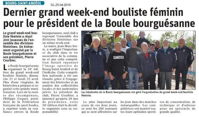 Le Dauphiné Libéré du 25-04-2019- Boule bourguésanne BSA