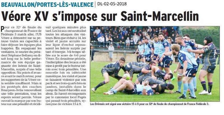 Dauphiné Libéré du 02-05-2018-Véore XV s'impose-Portes-lès-Valence