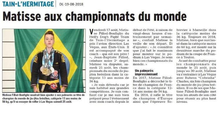 Dauphiné Libéré du 19-08-2018- Jiu-jitsu brésilien