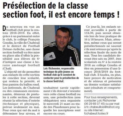 Dauphiné Libéré du 16-03-2018 Ecole de Foot-Chabeuil