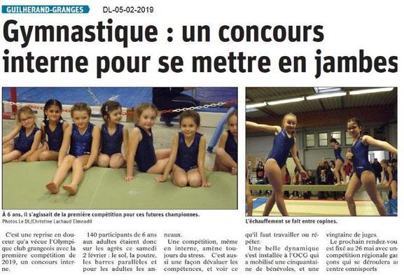 Dauphiné Libéré du 05-02-2019- Jeunes gymnastes à Guilherand Granges