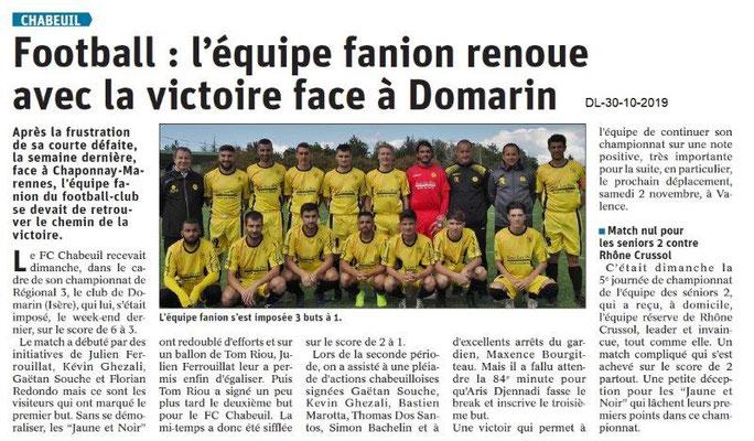 le Dauphiné Libéré du 30-10-2019- Football de Chabeuil