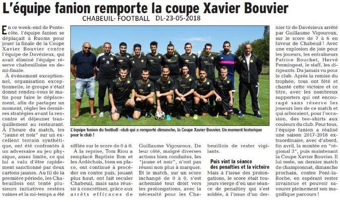 Dauphiné Libéré du 23-05-2018- Football- Chabeuil