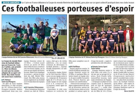 Le Dauphiné libéré du 01-06-2019- Football féminine bassin d'Annonay
