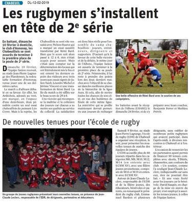 Dauphiné Libéré du 12-02-2019- Rugbymen de Chabeuil