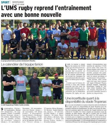 Dauphiné Libéré du 27-07-2018- Montélimar rugby reprise de l'entraînement