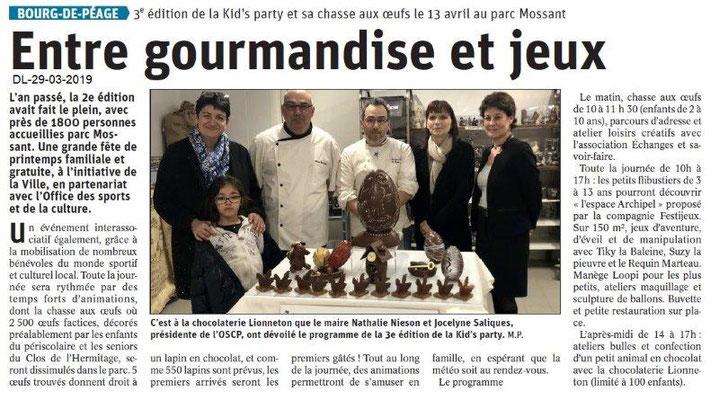 Le Dauphiné Libéré du 29-03-2019- Prgramme Kid's party OSCP Bg Péage