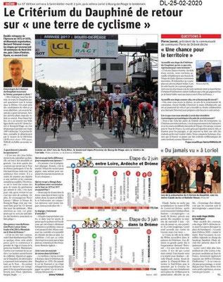 Dauphiné Libéré du 25-02-2020- Critérium du Dauphiné