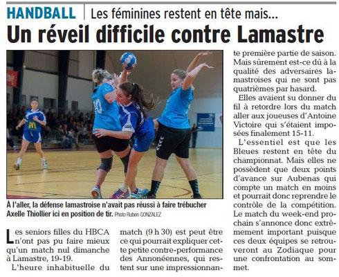 Dauphiné Libéré du 06-03-2018 Handball-Annonay-Lamastre