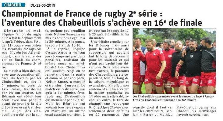 Le Dauphiné Libéré du 22-05-2019- Rugby Chabeuil