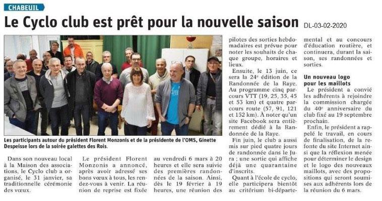 Le Dauphiné Libéré du 03-02-2020- Cyclo de Chabeuil
