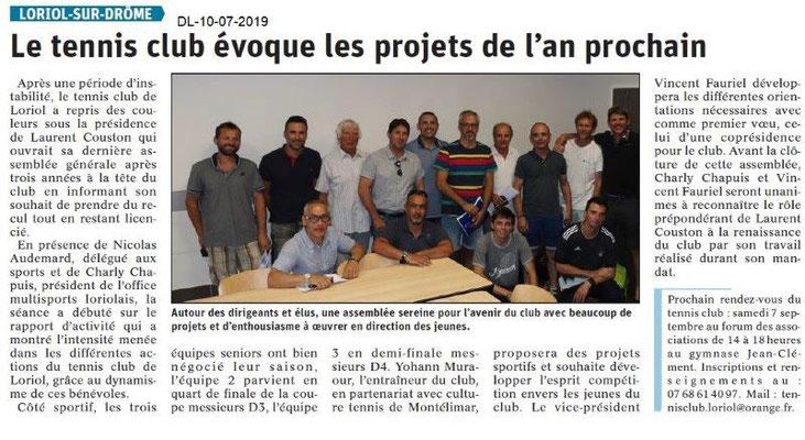 Dauphiné Libéré du 10-07-2019- Tennis club de Loriol