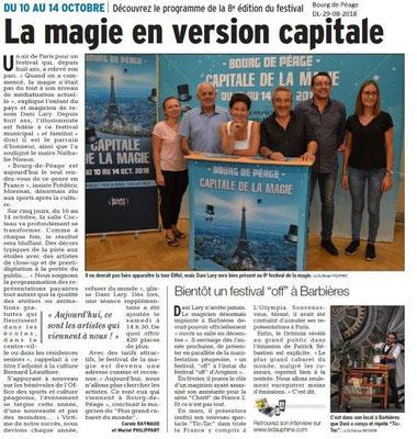 Dauphiné Libéré du 29-08-2018- Festival de la Magie