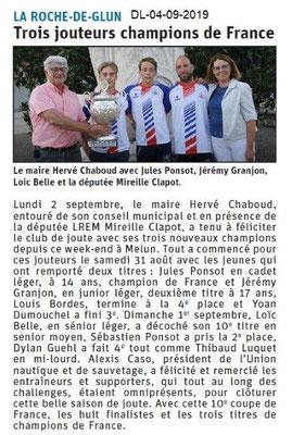 Dauphiné libéré du 04-09-2019- Les jouteurs de La Roche de Glun.