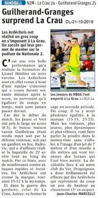 Dauphiné libéré du 21-10-2019- Handball de Guilherand-Granges