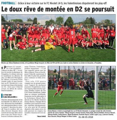 Dauphiné Libéré du 08-05-2018-Section Féminine Foot de l'OV