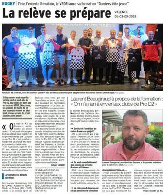 Dauphiné Libéré du 03-09-2018- Rugby Valence
