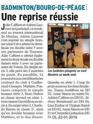 Dauphiné Libéré du 22-01-2019- Badminton de Bourg de Péage