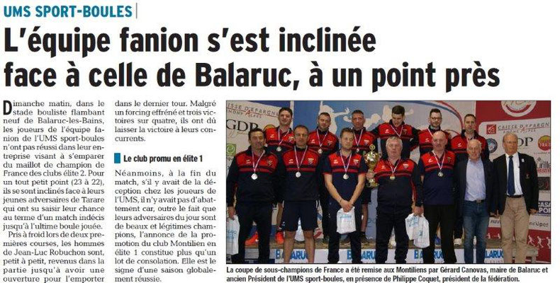 Dauphiné Libéré du 20-03-2018-UMS Sport Boules-Montélimar