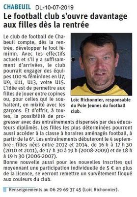 Dauphiné Libéré du 10-07-2019- Football club de Chabeuil.