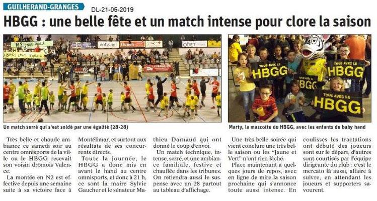 Le Dauphiné Libéré du 21-05-2019- Handball Guilherand