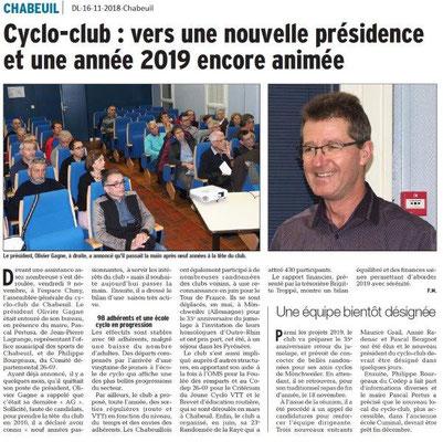 Dauphiné Libéré du 16-11-2018- Cyclo-club de Chabeuil