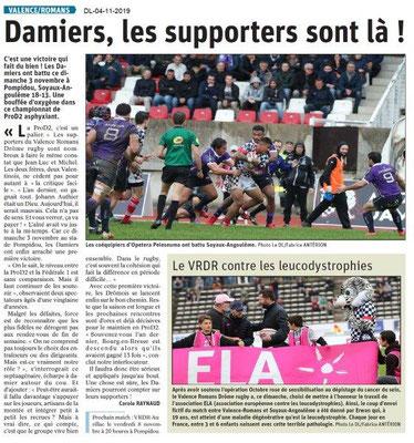 Le Dauphiné Libéré du 04-11-2019- Rugby Valence- Romans