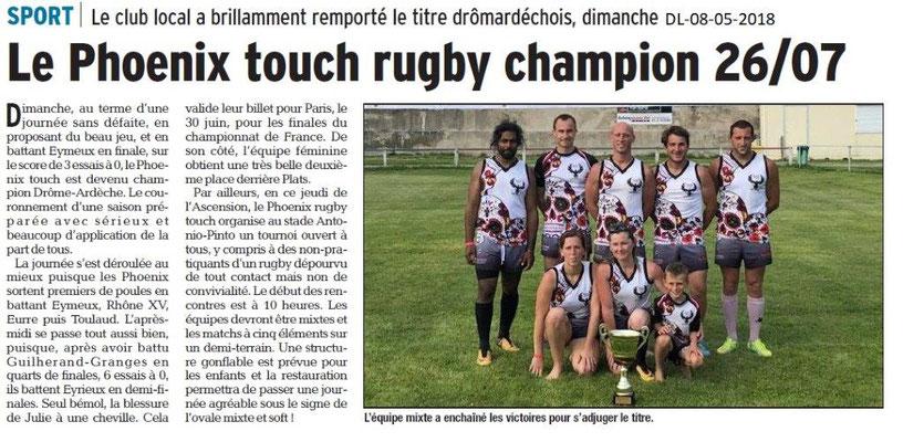 Dauphiné Libéré du 08-05-2018- Le Phoenix touch rugby champion 26-07