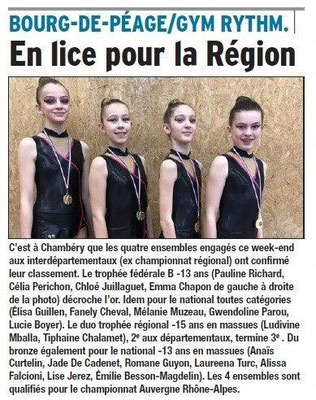Dauphiné Libéré du 27-03-2018-GYM rythmique-Bourg de Péage