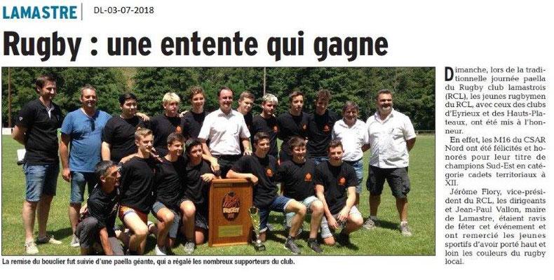 Dauphiné Libéré du 03-07-2018- Rugby à Lamastre