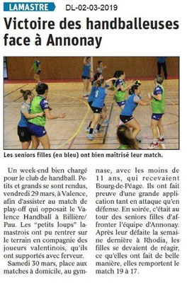 Le Dauphiné Libéré du 02-04-2019- Handballeuses de Lamastre