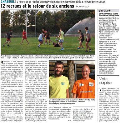 Dauphiné Libéré du 09-08-2018- Reprise au Rugby Club de Chabeuil