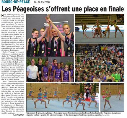 Dauphiné Libéré du 07-05-2018-Qualification de l'UGAP- Bourg de Péage