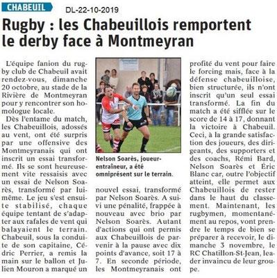 Dauphiné libéré du 22-10-2019- Rugby Chabeuil