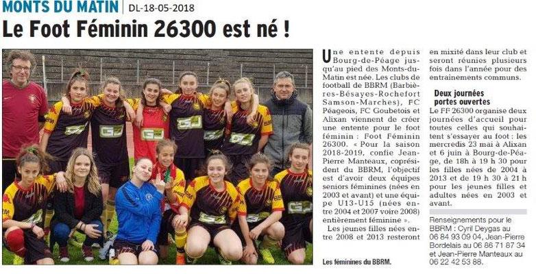 Dauphiné Libéré du 18-05-2018- Foot Féminin 26300