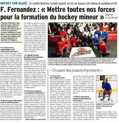 Dauphiné Libéré du 15-05-2018-Hockey sur glace Valence