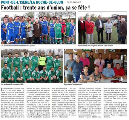 Dauphiné Libéré du 22-08-2018- Fusion de deux clubs de foot