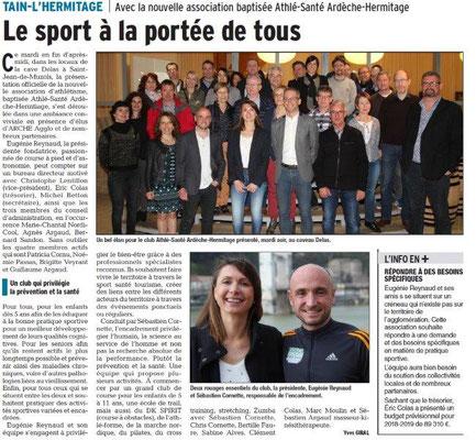 Dauphiné Libéré du 05-04-2018-Sport-santé àTain-l'Hermitage
