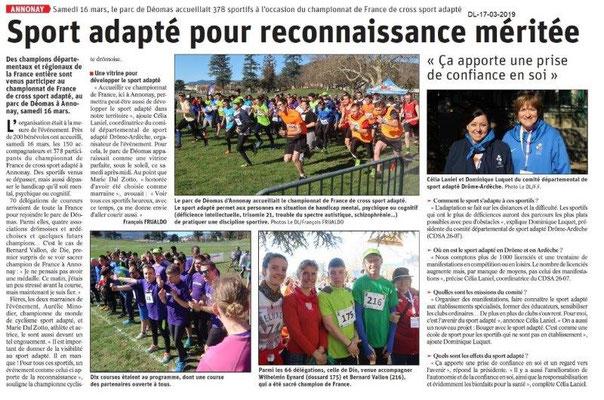 Le Dauphiné Libéré du 17-03-2019- Annonay Championnat de France de cross du Sport-adapté