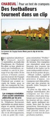 Dauphiné Libéré du 15-09-2018 Test pour crampons avec le Rugby Chabeuil