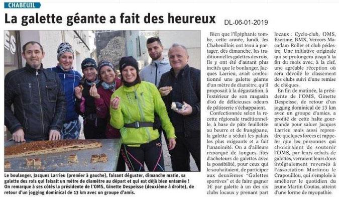 Dauphiné Libéré du 06-01-2019- Chabeuil et la Galette