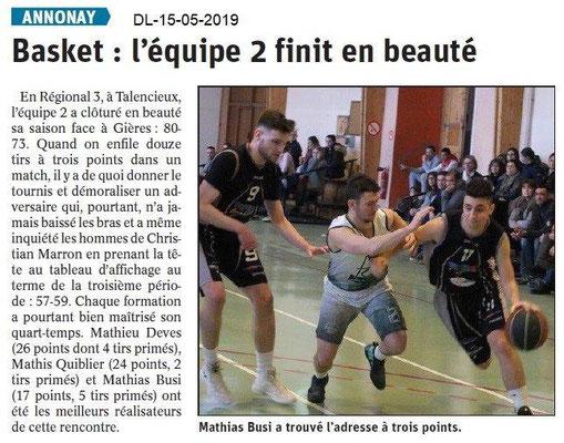 Le Dauphiné Libéré du 15-05-2019- Basket Annonay
