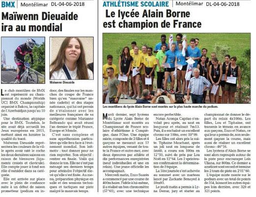 Dauphiné Libéré du 04-06-2018-Champions à Montélimar