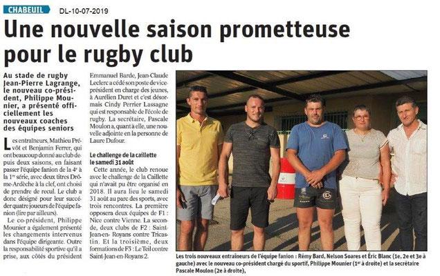Dauphiné Libéré du 10-07-2019- Rugby club de Chabeuil