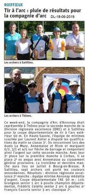 Dauphiné Libéré du 18-06-2019- Tir à l'arc d'Annonay