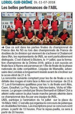 Dauphiné Libéré du 10-07-2018- ABL Loriol Championne de la Drôme