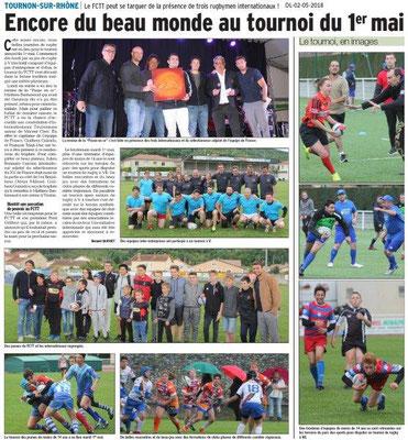 Dauphiné Libéré du 02-05-2018- Tournois de rugby-Tournon sur Rhône