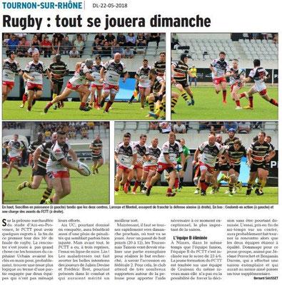 Dauphiné Libéré du 22-05-2018-Rugby Tournon